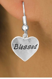 """<bR>         EXCLUSIVELY OURS!!<Br>        LEAD & NICKEL FREE!!<BR>W272SE - """"BLESSED"""" HEART &<Br>EARRINGS FROM $4.50 TO $8.35"""