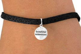 """<bR>              EXCLUSIVELY OURS!!<Br>             LEAD & NICKEL FREE!!<BR>         W277SB - """"EXCEPTIONAL  <bR>ACHIEVEMENT"""" ROUND CHARM & <bR>       BRACELET AS LOW AS $4.50"""