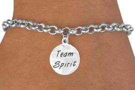 """<bR>                  EXCLUSIVELY OURS!!<Br>                 LEAD & NICKEL FREE!!<BR>    W286SB - """"TEAM SPIRIT"""" ROUND<BR>CHARM & BRACELET AS LOW AS $4.50"""