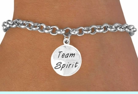 "<bR>                  EXCLUSIVELY OURS!!<Br>                 LEAD & NICKEL FREE!!<BR>    W286SB - ""TEAM SPIRIT"" ROUND<BR>CHARM & BRACELET AS LOW AS $4.50"