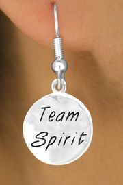 """<bR>                    EXCLUSIVELY OURS!!<Br>                   LEAD & NICKEL FREE!!<BR>      W286SE - ROUND """"TEAM SPIRIT""""<Br>CHARM & EARRINGS FROM $4.50 TO $8.35"""