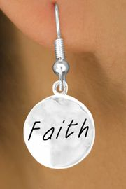 "<bR>         EXCLUSIVELY OURS!!<Br>        LEAD & NICKEL FREE!!<BR>   W294SE - ""FAITH"" CIRCLE &<Br>EARRINGS FROM $4.50 TO $8.35"