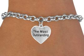 """<bR>           EXCLUSIVELY OURS!!<Br>          LEAD & NICKEL FREE!!<BR>         W309SB - """"THE MOST <BR>OUTSTANDING"""" HEART CHARM<bR> & BRACELET AS LOW AS $4.50"""