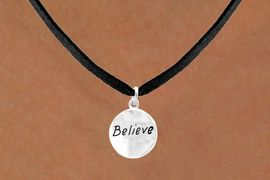 "<bR>          EXCLUSIVELY OURS!!<Br>         LEAD & NICKEL FREE!!<BR>   W310SN - ""BELIEVE"" CIRCLE<BR>& NECKLACE FROM $4.50 TO $8.35"