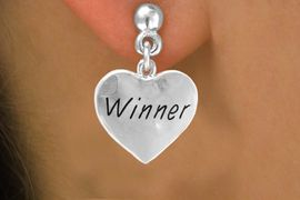"""<bR>          EXCLUSIVELY OURS!!<Br>         LEAD & NICKEL FREE!!<BR>W311SE - """"WINNER"""" HEART &<Br>  EARRINGS FROM $4.50 TO $8.35"""