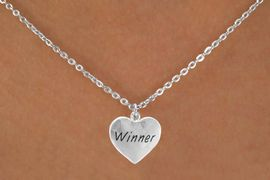 """<bR>          EXCLUSIVELY OURS!!<Br>         LEAD & NICKEL FREE!!<BR>W311SN - """"WINNER"""" HEART &<br>  NECKLACE AS LOW AS $4.50"""