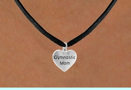 """<bR>                   EXCLUSIVELY OURS!!<Br>                  LEAD & NICKEL FREE!!<BR>W315SN - """"GYMNASTIC MOM"""" HEART<br>CHARM & NECKLACE AS LOW AS $4.50"""