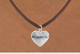 """<bR>             EXCLUSIVELY OURS!!<Br>            LEAD & NICKEL FREE!!<BR>W318SN - """"WONDERFUL"""" HEART<br>   & NECKLACE AS LOW AS $4.50"""