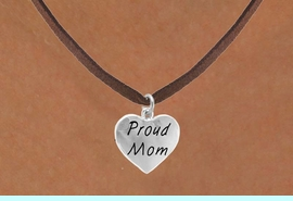"""<bR>             EXCLUSIVELY OURS!!<Br>            LEAD & NICKEL FREE!!<BR>W320SN - """"PROUD MOM"""" HEART<br>   & NECKLACE AS LOW AS $4.50"""