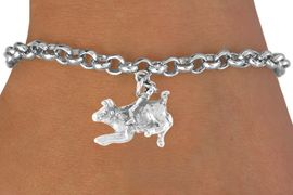 <bR>           EXCLUSIVELY OURS!!<Br>          LEAD & NICKEL FREE!!<BR>W324SB - BULL RIDER CHARM<Br> & BRACELET AS LOW AS $4.50