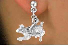<bR>           EXCLUSIVELY OURS!!<Br>          LEAD & NICKEL FREE!!<BR>W324SE - BULL RIDER CHARM<Br>  & EARRING FROM $4.50 TO $8.35