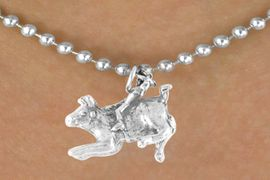 <bR>           EXCLUSIVELY OURS!!<Br>          LEAD & NICKEL FREE!!<BR>W324SN - BULL RIDER CHARM<br> & NECKLACE AS LOW AS $4.50