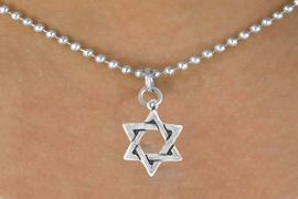 <bR>     EXCLUSIVELY OURS!!<Br>    LEAD & NICKEL FREE!!<BR>W327SN - STAR OF DAVID<Br>     CHARM & NECKLACE<bR>     FROM $4.50 TO $8.35
