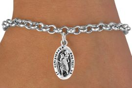 <bR>                 EXCLUSIVELY OURS!!<Br>                LEAD & NICKEL FREE!!<BR>W328SB - ST. CHRISTOPHER CHARM<Br>   & BRACELET FROM $4.50 TO $8.35