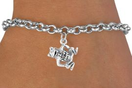 """<bR>                 EXCLUSIVELY OURS!!<Br>                LEAD & NICKEL FREE!!<BR>     W329SB - """"I LOVE FROGS"""" FROG<Br>CHARM & BRACELET AS LOW AS $4.50"""