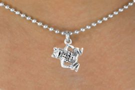 """<bR>      EXCLUSIVELY OURS!!<Br>     LEAD & NICKEL FREE!!<BR>W329SN - """"I LOVE FROGS""""<Br>FROG CHARM & NECKLACE<bR>           AS LOW AS $4.50"""