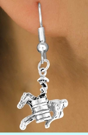 """<bR>              EXCLUSIVELY OURS!!<Br>             LEAD & NICKEL FREE!!<BR>W331SE - """"BARREL RACING"""" GIRL<Br>    & EARRINGS FROM $4.50 TO $8.35"""
