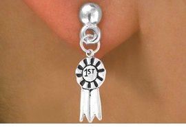 """<bR>          EXCLUSIVELY OURS!!<Br>         LEAD & NICKEL FREE!!<BR>     W332SE - """"1ST"""" RIBBON<Br>& EARRINGS FROM $4.50 TO $8.35"""