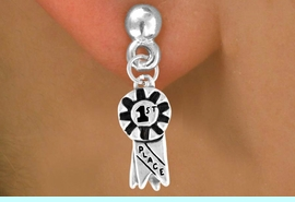 """<bR>             EXCLUSIVELY OURS!!<Br>            LEAD & NICKEL FREE!!<BR>W333SE - """"1ST PLACE"""" RIBBON<Br>  & EARRINGS FROM $4.50 TO $8.35"""