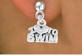 "<bR>         EXCLUSIVELY OURS!!<Br>        LEAD & NICKEL FREE!!<BR>W334SE - ""I LOVE TO SWIM""<Br> EARRINGS FROM $4.50 TO $8.35"