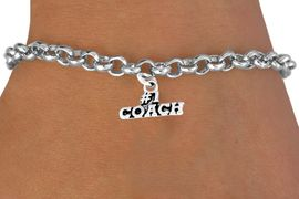 """<bR>        EXCLUSIVELY OURS!!<Br>       LEAD & NICKEL FREE!!<BR>   W335SB - """"#1 COACH"""" &<Br>BRACELET AS LOW AS $4.50"""