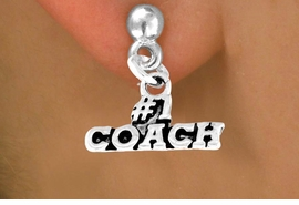 """<bR>        EXCLUSIVELY OURS!!<Br>       LEAD & NICKEL FREE!!<BR>      W335SE - """"#1 COACH""""<Br>EARRINGS FROM $4.50 TO $8.35"""