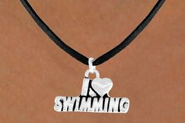 "<bR>           EXCLUSIVELY OURS!!<Br>          LEAD & NICKEL FREE!!<BR>W336SN - ""I LOVE SWIMMING""<Br>   NECKLACE AS LOW AS $4.50"