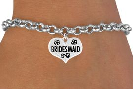 """<bR>             EXCLUSIVELY OURS!!<Br>            LEAD & NICKEL FREE!!<BR>W343SB - """"BRIDESMAID"""" HEART<Br>   & BRACELET FROM $4.50 TO $8.35"""