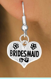"""<bR>              EXCLUSIVELY OURS!!<Br>             LEAD & NICKEL FREE!!<BR>W343SE - """"BRIDESMAID"""" HEART<Br> & EARRINGS FROM $4.50 TO $8.35"""