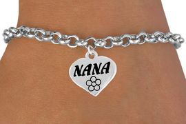"""<bR>        EXCLUSIVELY OURS!!<Br>       LEAD & NICKEL FREE!!<BR>W344SB - """"NANA"""" HEART &<Br>BRACELET FROM $4.50 TO $8.35"""