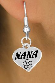 """<bR>        EXCLUSIVELY OURS!!<Br>       LEAD & NICKEL FREE!!<BR>  W344SE - """"NANA"""" HEART &<Br>EARRINGS FROM $4.50 TO $8.35"""