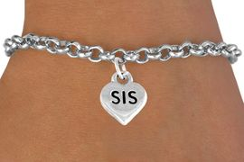 """<bR>        EXCLUSIVELY OURS!!<Br>       LEAD & NICKEL FREE!!<BR>     W345SB - """"SIS"""" HEART &<Br>BRACELET FROM $4.50 TO $8.35"""