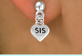 """<bR>        EXCLUSIVELY OURS!!<Br>       LEAD & NICKEL FREE!!<BR>      W345SE - """"SIS HEART &<Br>EARRINGS FROM $4.50 TO $8.35"""
