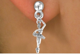 <bR>      EXCLUSIVELY OURS!! <BR>     LEAD & NICKEL FREE!! <BR> W416SE - POSED BALLERINA <BR>    CHARM EARRING <br>       AS LOW AS $3.25