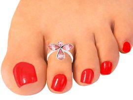 """<Br>                   EXCLUSIVELY OURS!!!<BR>W10479TR - PINK AUSTRIAN CRYSTAL<Br>        """"GUARDIAN ANGEL"""" STRETCH<br>       TOE RING FROM $2.20 TO $7.50"""