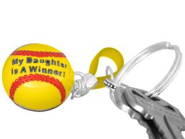 """<BR>             EXCLUSIVELY OURS!!!<BR>W10682KC - """"MY DAUGHTER IS<BR>   A WINNER!"""" GIRLS' SOFTBALL<br>    KEY CHAIN AS LOW AS $1.99"""