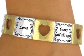 "<br>                  EXCLUSIVELY OURS!<br>   W10729B - POLISHED TWO-TONE<br>""LOVE"" & CUT-OUT HEART STRETCH<Br>    BRACELET FROM $5.63 TO $12.50"