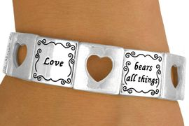 "<bR>                  EXCLUSIVELY OURS!<br>W10730B - POLISHED SILVER-TONE<br>""LOVE"" & CUT-OUT HEART STRETCH<Br>   BRACELET FROM $5.63 TO $12.50"