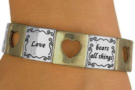 "<br>                 EXCLUSIVELY OURS!<br>       W10731B - MATTE TWO-TONE<br>""LOVE"" & CUT-OUT HEART STRETCH<Br>   BRACELET FROM $5.63 TO $12.50"
