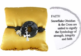 "<br>                       EXCLUSIVELY OURS!!! <BR>         W10785B - GENUINE SNOWFLAKE<BR>          OBSIDIAN STONE & CROSS DROP<bR>""FAITH"" SYMBOLOGY STRETCH BRACELET<bR>    & KEEPSAKE PILLOW AS LOW AS $6.85"