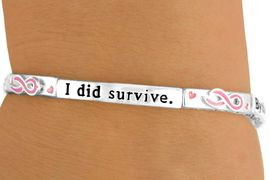 """<br>                               EXCLUSIVELY OURS!!!<Br>W10791B-""""BY THE GRACE OF GOD I WILL SURVIVE, <Br>BY THE GRACE OF GOD I DID SURVIVE"""" AWARENESS<br>         RIBBON & HEART STRETCH BRACELET<Br>                             FROM $4.50 TO $10.00"""