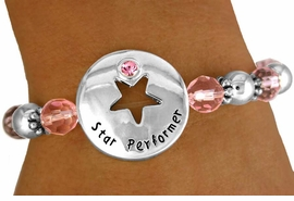 """<Br>                  EXCLUSIVELY OURS!!!<BR>W11238B - PINK """"STAR PERFORMER""""<bR>       AUSTRIAN CRYSTAL & FACETED<Br> BEAD & SILVER TONE BALL STRETCH<br>          BRACELET AS LOW AS $3.45"""