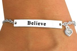 """<Br>                      EXCLUSIVELY OURS!!!<Br>W11590B - """"BELIEVE"""" INSCRIBE PLATE &<br>     GENUINE AUSTRIAN CRYSTAL HEART<bR>     CHARM BRACELET FROM $4.16 TO $9.25"""