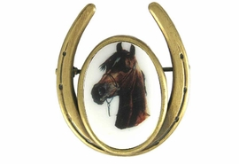 <Br>                     EXCLUSIVELY OURS!!!<br>       W11716P - ANTIQUE GOLD FINISH<br>HORSESHOE AND BAY COLORED HORSE<Br>                      PIN AS LOW AS $5.90