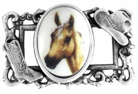 "<br>                   EXCLUSIVELY OURS!!!<br>W11748P - STERLING SILVER PLATED<Br>   COWBOY HAT & BOOT ""FRAME"" &<bR>    PALOMINO HORSE OVAL PICTURE<Br>                  PIN AS LOW AS $6.90"