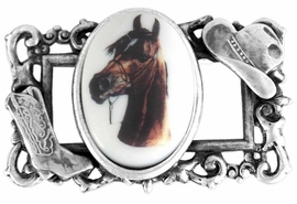 "<BR>                  EXCLUSIVELY OURS!!!<bR>W11749P - STERLING SILVER PLATED<Br>   COWBOY HAT & BOOT ""FRAME"" &<bR>BAY COLORED HORSE OVAL PICTURE<Br>                 PIN AS LOW AS $6.90"