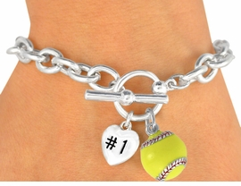 "<Br>                 EXCLUSIVELY OURS!<BR> W16186B - POLISHED SILVER TONE<br>    ""#1"" HEART & SOFTBALL CHARM<br>TOGGLE BRACELET FROM $3.35 TO $8.75"