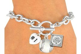 "<Br>              BASEBALL BRACELET<BR>W19361B - POLISHED SILVER TONE<br> ""#1"" HEART,  WHITE BASEBALL & <BR>  PLAYERS  POSITION ON DIAMOND <br> 3 CHARMS AND TOGGLE BRACELET <Br>               $9.68 EACH �2011"