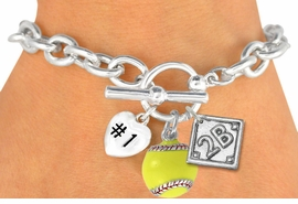 "<Br>               EXCLUSIVELY OURS!<BR>W19362B - POLISHED SILVER TONE<br>""#1"" HEART,  YELLOW SOFTBALL & <BR>  PLAYERS  POSITION ON DIAMOND <br> 3 CHARMS AND TOGGLE BRACELET <Br>     FROM $4.50 TO $10.00 �2012"