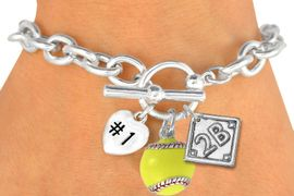"""<Br>               EXCLUSIVELY OURS!<BR>W19362B - POLISHED SILVER TONE<br>""""#1"""" HEART,  YELLOW SOFTBALL & <BR>  PLAYERS  POSITION ON DIAMOND <br> 3 CHARMS AND TOGGLE BRACELET <Br>     FROM $4.50 TO $10.00 �2012"""